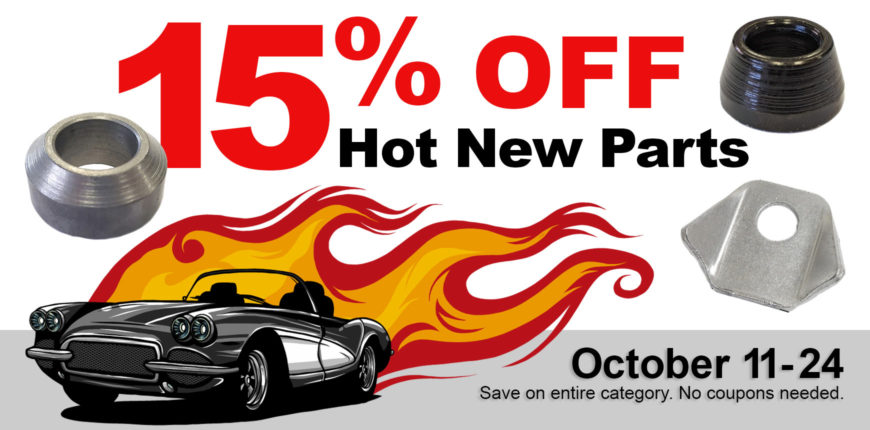15% Off New Parts Sale Banner with Racecar