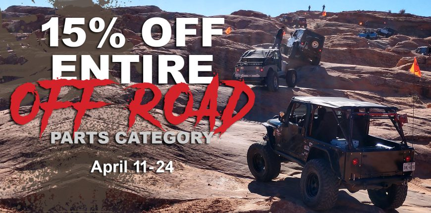 15% Off Road Parts Category - April 11-24 banner